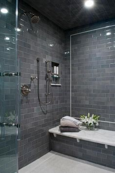 Classy and Modern Bathroom Shower Tile Ideas. 38 Classy and Modern Bathroom Shower Tile Ideas. 48 Classy and Modern Bathroom Shower Tile Ideas Bathroom Spa, Modern Bathroom, Bathroom Remodeling, Bathroom Ideas, Bathroom Showers, Bathroom Vanities, Basement Bathroom, Chic Bathrooms, Minimalist Bathroom