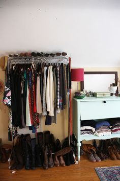 closet makeover reveal, cleaning tips, closet, storage ideas, With two clothes racks and a cute vintage dresser I turned my upstairs room into every girl s dream closet