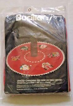 "Bucilla #48608 Jeweled Christmas Tree Skirt or Table Center 45"" Round USA"