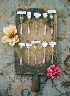 Vintage Fork Escort Cards for a Foodie Wedding | Clayton Austin Photography | See More! http://heyweddinglady.com/foodie-wedding-inspiration-with-botanical-details/