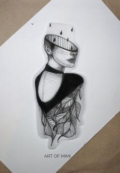 Work by Art of Mimi #illustration #fortattoo #design #tattoodesign #leaves #dotwork
