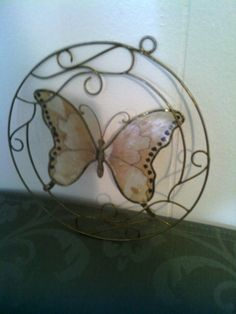 Beautiful Vintage Golden Metal Butterfly Window Decoration by cappelloscreations, $30.00@Etsy