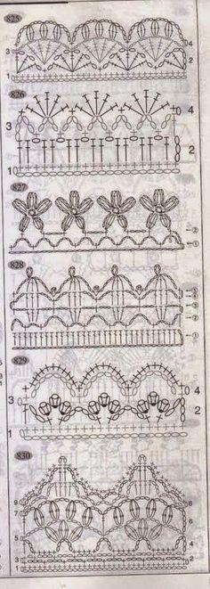 Patrones de Fantásticas puntillas para aplicar a manteles y toallas para tejer al crochet