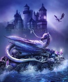 Dragon artworkdragon paintingpurple by EnchantedWhispersArt
