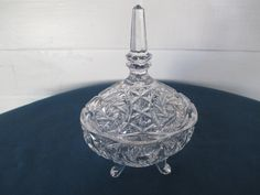 Imperial Pinwheel & Fan Footed Glass Candy Dish Vintage Serving Home Decor by BitofHope on Etsy