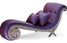 I chose this nice purple chaise lounge because it has a unique influence. Its curviness along with the shiny upholstery gives character to room. I also like the buttoned back of the chaise lounge.