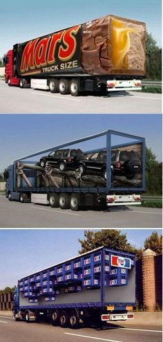 Brilliant truck wraps. Or as they are referred to in the industry, mobile advertisements.