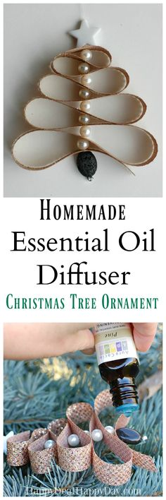 Christmas DIY: Learn how to make a Learn how to make a Homemade Essential Oil Diffuser Christmas Tree Ornament out of lava beads pearl beads and ribbon Pine Essential Oil! Christmas Scents, Homemade Christmas, Christmas Tree Ornaments, Christmas Crafts, Ornament Tree, Christmas Ideas, Christmas Sayings, Christmas Decorations, Xmas Trees