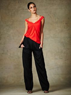 Wide-Leg Stretch Silk Pant- i've always been a red and black person