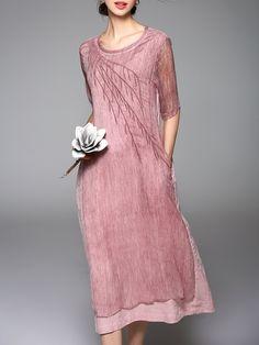 Pink Vintage Plain Crew Neck Embroidered Midi Dress - StyleWe.com