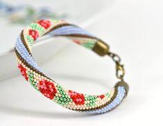Flower Bracelet Beaded Bracelet Bead Crochet White by LeeMarina