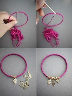 Easy DIY Summer Bracelet Everyone has time for quick and simple DIY craft projects. Here we have a great way of recycling old metal bangles to create a colourful accessory.Attractive Fashion Ideas For Teens – Sassy Lady Diy Bracelets Easy, Summer Bracelets, Bracelet Crafts, Jewelry Crafts, Diy Jewelry Necklace, Diy Earrings, Beaded Jewelry, Handmade Jewelry, Beaded Bracelets