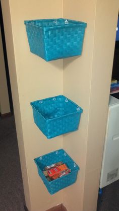 Don't like a cluttered countertop? Have a corner you can use? Use this idea to put your veggies, crackers, paperwork, etc in to declutter your area for less than $10.00! Baskets from Dollar Tree and (mirror) clips from Walmart. Perfect!