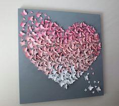 30 x 30 Ombre Butterfly Wall Art in Soft by TheButterflyInBloom