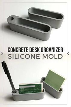 I love concrete home decor objects. This cement desk organizer is awesome. With this silicone mold I would also make them as personalized gifts for my friends. #ad #concrete #siliconemold #desk #organizer #penholder #businesscardholder #homedecor #cement #gftideas #diy