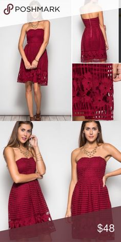 COMING SOON Wine Floral Netted Strapless Dress How gorgeous is THIS! It's the most perfect color for fall! Dress it with a short black jacket or wear as is! So elegant! Sizes S M L. Ships 9/27 Dresses Strapless