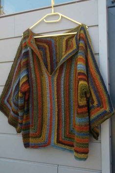women oversized sweater size large (scoop), baba cool perfect over jeans for a music festival. Beautiful thread colors from Katia in colors Blue, green, Brown, Poncho Crochet, Crochet Jacket, Poncho Pullover, Blanket Poncho, Crochet Fashion, Crochet Clothes, Crochet Patterns, Sweaters For Women, Knitting