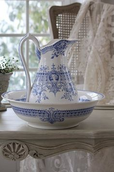 Beautiful blue white water pitcher and basin