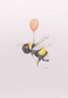 Print of original watercolour painting of a bee with balloon Bee Drawing, Drawing Sketches, Art And Illustration, Cute Bee, Bee Art, Cute Drawings, Animal Drawings, Watercolor Art, Watercolor Flowers