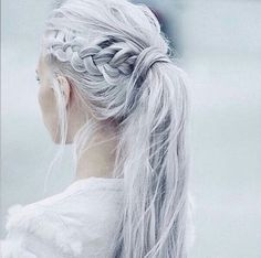 white hair, big braid