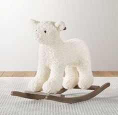 Restoration Hardware Baby & Child's Textured Plush Animal Rocker:With a sturdy wood base for a smooth ride, our rocker is a welcome playtime companion. Toddler Toys, Baby Toys, Luxury Nursery, Restoration Hardware Baby, Rh Baby, Nursery Accessories, Ride On Toys, Plush Animals, Decoration