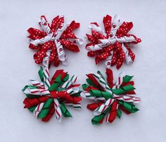 Christmas Hair Bows  Set of 2 Korker Bows for by LizzyBugsBowtique, $5.00