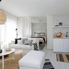 Discover recipes, home ideas, style inspiration and other ideas to try. Studio Apartment Living, Studio Apartment Layout, Tiny Studio Apartments, One Room Apartment, Small Apartment Interior, Small Apartment Design, Studio Apartment Decorating, Studio Living, Studio Home