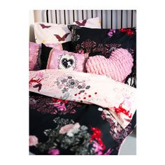 SILKESLEN Duvet cover and pillowcase(s), unicorn black, pink NEW IKEA #IKEA
