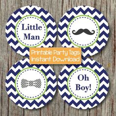 Little Man Baby Shower Cupcake Toppers by BumpAndBeyondDesigns, $4.00