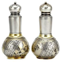 Whiting aesthetic period Japanesque sterling salt and pepper set c1880 (laurenstanley)