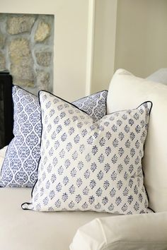 Jenny Steffens Hobick: Indigo Woodblock Print Napkins & Pillows   Restocked Hanging Baskets, Seagrass Carafes, Kitchen Brushes & Tumbler