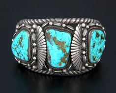 LARGE OLD NAVAJO HANDMADE STERLING SILVER & GEM QUALITY TURQUOISE CUFF BRACELET | Jewelry & Watches, Ethnic, Regional & Tribal, Native American | eBay!