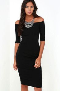 Lulus Exclusive! Bring out a sense of sophistication with the Gracefully Yours Black Dress! This thick stretch knit dress has a fitted bodice with a deep V-neckline (and hidden V bar), plus a fitted midi length skirt for a look of style and elegance. Double straps on the back give this dress an open feel while princess seams at front give it an extra feminine touch. Hidden back zipper.