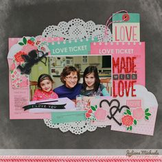 Made With Love Scrapbook Page using @Pebbles Inc. Yours Truly Collection