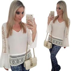 Shop now http://a-sheek-boutique.myshopify.com/products/jecksion-v-neck-women-blouse-flare-sleeve-ladies-tops-hollow-out-long-sleeve-chiffon-tops-white-shirt-lsin?utm_campaign=social_autopilot&utm_source=pin&utm_medium=pin A Sheek boutique new products.