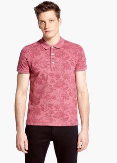Slim-fit floral-print piqué polo shirt