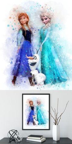 Frozen Elsa print Frozen wall decor Elsa printable Disney Frozen print Elsa Anna watercolor Frozen Disney printable Anna poster