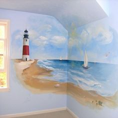 wall murals fits the red and blue theme