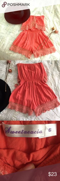 🥂HOST PICK 🥂Coral Strapless HOT Romper Love this strapless little number. 💛Just is way too little for me. My body is too long. I'm size 3/4 and 25/26 with a 34 DD Bust. It's perfect for a very petite size 1/2 or even 0 with a smaller bust. Has a side zipper 🤐and clasp. Very soft material made of cotton and polyester. By Sweetaeacia Sweetaeacia Other
