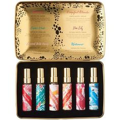 A dainty set of miniature perfumes makes the perfect gift. This set comes with scents including, Anemone, Cactus Verde, Coconut Milk Mango, Grapefruit Oleander, Thai Lily, and Watermint - perfect for