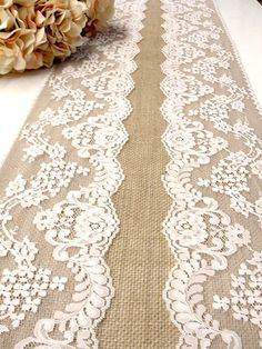 Table Runners For Weddings | Burlap table runner wedding table runner with by HotCocoaDesign