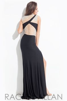Jersey gown with sheer beaded neckline and back prom dress by Rachel Allen
