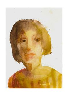 SALE original watercolor portrait WOMAN in YELLOW  by marina826, $27.00