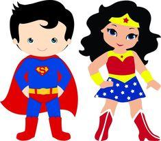 Superhero Clipart, Superhero Cartoon, Baby Superhero, Superhero Classroom, Superman Characters, Dc Comics Characters, Supergirl, Cartoon Chef, Wonder Woman Birthday