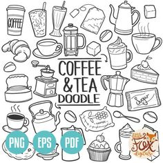 Coffee and Tea Drink Traditional Doodle Icons Sketch Hand Made Design Vector , Doodle Drawings, Easy Drawings, Doodle Art, Food Doodles, Cute Doodles, Happy Doodles, Flower Doodles, Coffee Doodle, Sketch Notes