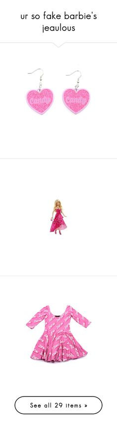"""""""ur so fake barbie's jeaulous"""" by lolita-grant ❤ liked on Polyvore featuring accessories, eyewear, sunglasses, earrings, home, children's room, barbie, dresses, fillers and other"""