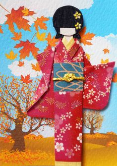ATC1323 - Colorful autumn | ATC with hand-folded Japanese origami paper doll. Traded at AFA.