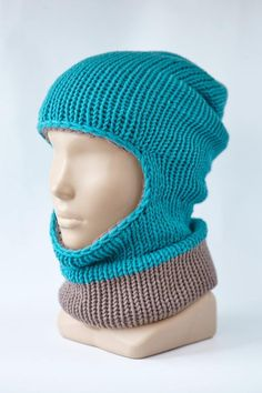 8e2ce3e628661 Knitted BALACLAVA grey blue Hat Winter Mask Hood Ski Knit Baggy Beanie Warm  neck man woman wool handmade Blue gray turquoise