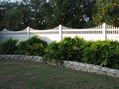 Custom white pvc privacy fence with lattice top Lattice Privacy Fence, Fence With Lattice Top, Privacy Fences, White Vinyl Fence, Vegetable Garden Tips, Mossy Oak, Fence Design, Modern Design, Orlando