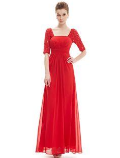 Ever Pretty Half Sleeve Square Neckline Ruched Waist Evening Dress 08038 | Amazon.com